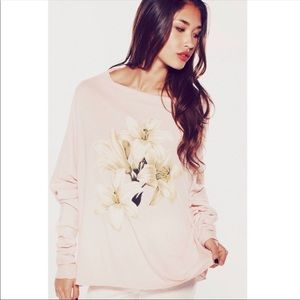 Wildfox White Lily Garbage Long Sleeve Tee